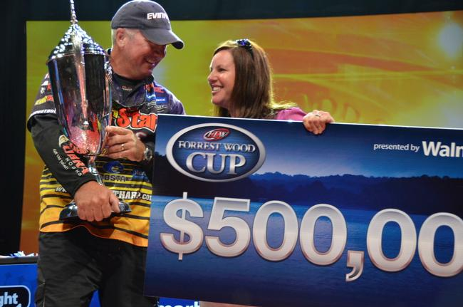 EverStart team pro Randall Tharp of Port Saint Joe, Fla., celebrates his 2013 Forrest Wood Cup victory with his wife Sara.