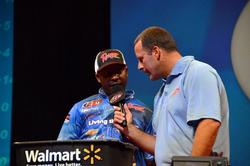 Mark Daniels Jr. talks to Chris Jones during his first time to fish the Forrest Wood Cup as a pro.