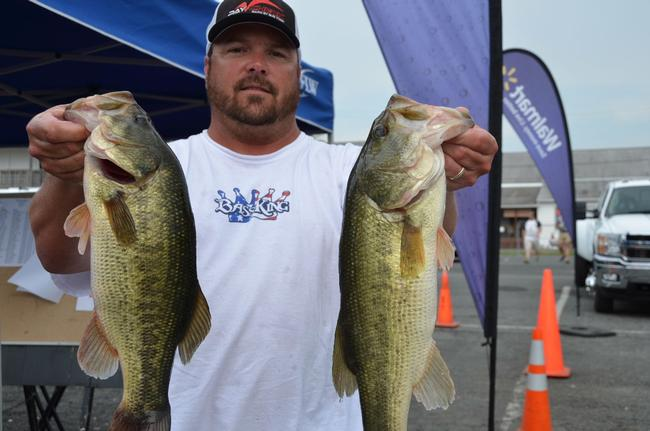 Lenny Baird of Stafford, Va., used a total catch of 13 pounds, 12 ounces to grab the top spot in the Co-angler Division on day one at the Chesapeake Bay.