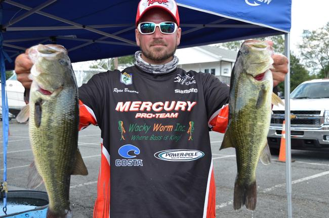 Co-angler Ryan Bauman of Fleetwood, Pa., qualified for the finals in third place with a total catch of 20 pounds, 12 ounces. Bauman also landed the day's big-bass award in the Co-angler Division after netting a 4-pound, 14-ounce largemouth.