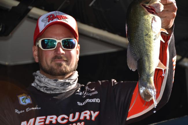 EverStart co-angler Ryan Bauman of Fleetwood, Pa., shows off part of his three-day, 38-pound, 2-ounce catch en route to capturing a tournament title on the Chesapeake Bay.
