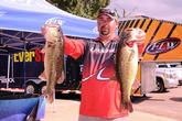 Philip Crelia of Center, Texas, is in fourth place with a five-bass limit weighing 19 pounds, 8 ounces.