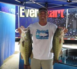 Dustin Grice of Hewitt, Texas, cracked the 20-pound mark today for third place with 20 pounds, 10 ounces.