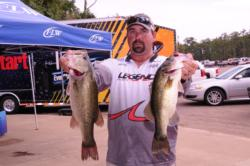 Philip Crelia of Center, Texas, moved up a spot to third place on day two with 15-pound catch for 34 pounds, 8 ounces.
