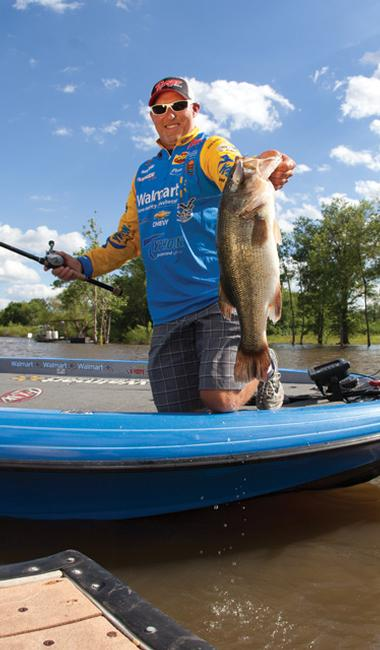 Walmart team pro Wesley Strader `steers' shallow crankbaits into dock structure to get reaction bites from bass in fall.