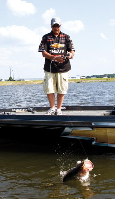 Chevy team pro Bryan Thrift suggest making multiple casts to the best parts of a dock as bass don't always bite the first time.
