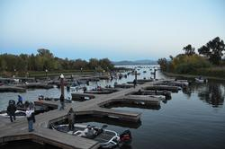 Anglers leave the docks to start the final event of the 2013 EverStart Series Western Division on Clear Lake.