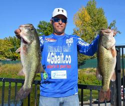 Jason Newby moves up to fourth place after another consistent catch over 25 pounds to bring his two-day total weight to 50-10.