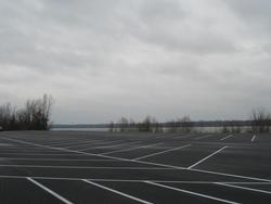 The new boat ramp features a large parking area.
