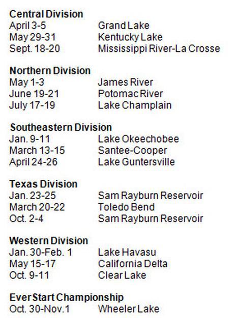 2014 Rayovac FLW Series schedule
