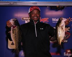 Ronnie Green of Sebring, Fla., leads the Co-angler Division of the Rayovac FLW Series with a five-bass limit weighing 15 pounds, 6 ounces.