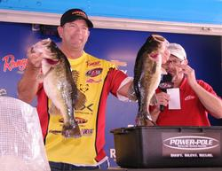 Tim Fox of Meridian, Miss., leads the Co-angler Division of the Rayovac Series on Lake Okeechobee with two-day total of 26 pounds, 12 ounces.
