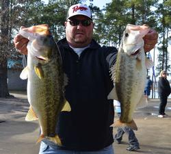 Co-angler Kevin Gressett of Tioga, Texas, claims second place with a two-day total of 22-4.