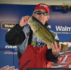 Randall Vaughan of Blanco, Texas, took big bass honors for the co-anglers on day two with his 7-2 giant.