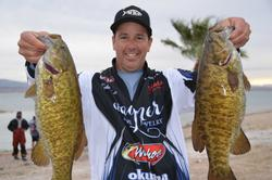 Bolstered by a catch of 15 pounds, Todd Kline of San Clemente, Calif., took over the top spot in the Co-angler Division after the opening round of competition on Lake Havasu.