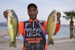 Co-angler Roy O. Desmangles of Lincoln, Calif., grabbed third place overall with a total catch of 12 pounds after the first day of competition on Lake Havasu.