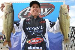 Although Todd Kline of San Clemente, Calif., lost his overall lead in the Co-angler Division he still managed to qualify for the finals on Lake Havasu in second place with a two-day total catch of 23 pounds, 10 ounces.