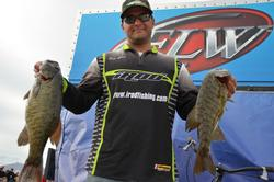 Co-angler Daniel Leue of Colusa, Calif., leapfrogged from 54th place to fourth place overall after netting a dominating 16-pound, 14-ounce catch on Friday.