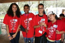 Members of the the local Broward County Boys and Girls club prepare to get some fishing lessons from FLW Tour pros.