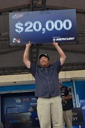 For winning the 2014 FLW Tour event on Lake Okeechobee, co-angler Billy Dehart earned $20,000.