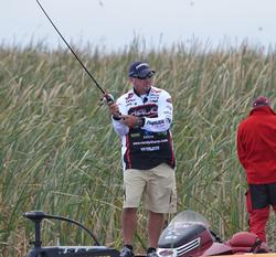 Randall Tharp fires out a cast with a swim jig.