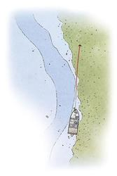 Hold boat in 22 to 24 feet of water and cast across the grass edge slightly less than parallel. In this illustration, the grass edge is between 15 and 18 feet deep.