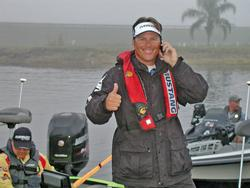 FLW Tour pro Scott Martin gives a thumbs up shortly before takeoff.