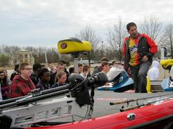 FLW Tour pro Vic Vatalaro has some fun with Seneca, S.C., area students during a school visit to promote the `Get Outdoors. Go Fish!' essay contest,