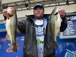 Clent Davis used a mix of largemouths and spotted bass to finish day one seventh with 16-14.