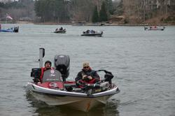 National Championship qualifiers head back to the marina before the start of day-one weigh-in on Lake Keowee.