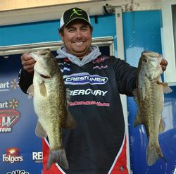 John Cox continued to catch the Lake Hartwell largemouths and now sits in second with two days of fishing left.