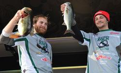 The Slippery Rock University team of Benjamin Tawney and Tyler Branca leapfrogged from 18th to second place heading into the finals of the national championship on Lake Keowee.