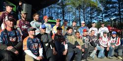 The top-10 team finalists at the 2014 FLW College Fishing National Championship pose for a quick photo after day-two weigh-in.
