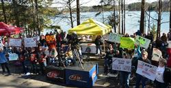 A good crowd was on hand to witness the second day's weigh-in at the 2014 FLW College Fishing National Championship on Lake Keowee.
