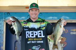 Repel pro Cody Meyer with part of his 12-14 limit that holds him in fourth place after day three.