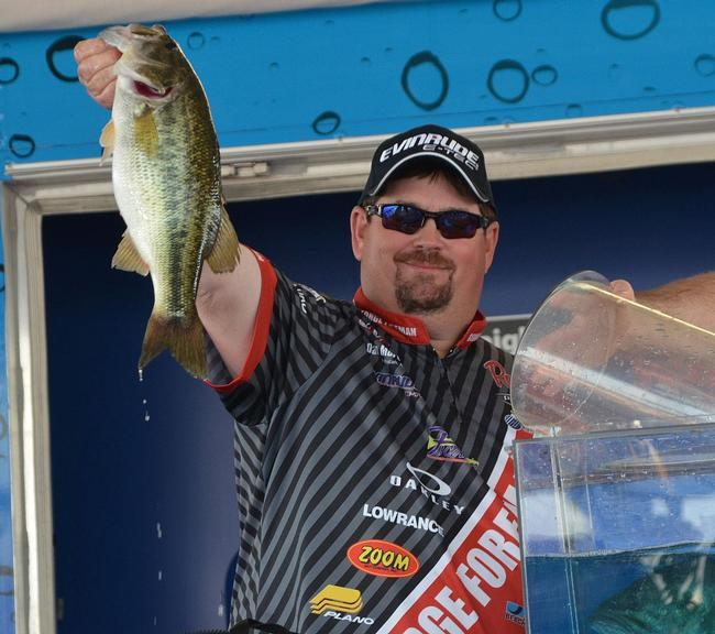 Eighth-place finisher Dan Morehead holds up his biggest bass from day four on Lake Hartwell.