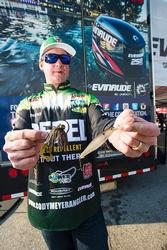 Repel pro Cody Meyer used a variety of lures, including a drop-shot and Jackall Flick Shake, as well as the G Money jig and Jackall DD Squirrel 79 jerkbait shown here.