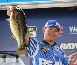 Fifth-place pro Andrew Upshaw ended his day with a big fish that crushed a topwater bait.
