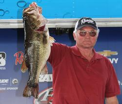 Mack McCoy took Big Bass honors in the co-angler division with this 8-pound, 7-ounce fish.