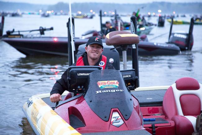 Todd Hollowell is excited for competition. His dual Lowrance units will be put to work today.