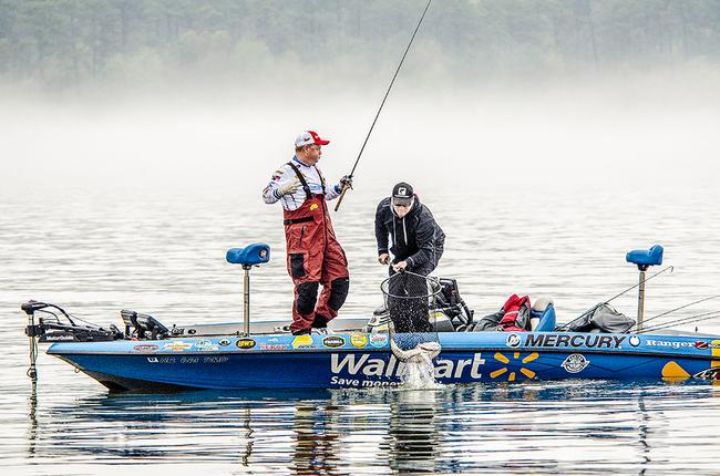 Walmart pro Mark Rose celebrates after co-angler nets yet another Texas sized behemoth.