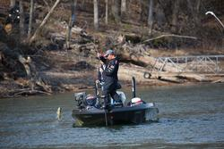 Sam Rayburn champ Bryan Thrift swings aboard a Beaver Lake keeper.