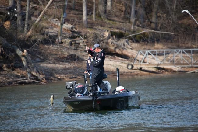 Sam Rayburn champ Bryan Thrift swings aboard a Beaver Lake keeper.