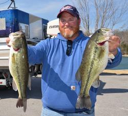 Co-angler Shane Melton leaped out to the lead with just four bass weighing 12 pounds, 5 ounces.