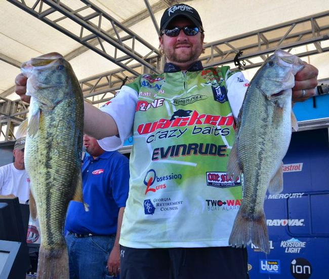 Matt Arey sits in third with 27-6 worth of Beaver Lake bass over two days.