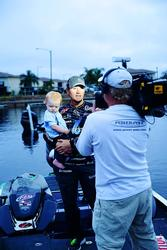 Kei Blaylock shares the spotlight with his father and Walmart FLW Tour pro, Stetson Blaylock, at Lake Okeechobee.