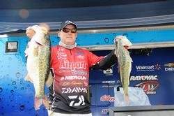 Robert Behrle of Hoover, Ala., is in fourth place with a five bass limit weighing 25 pounds, 1 ounce.