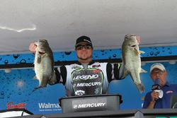 Fourth-place pro Joe Raftery shows off his two best fish.