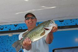 Co-angler leader Rob Larrabee improved from seventh place.