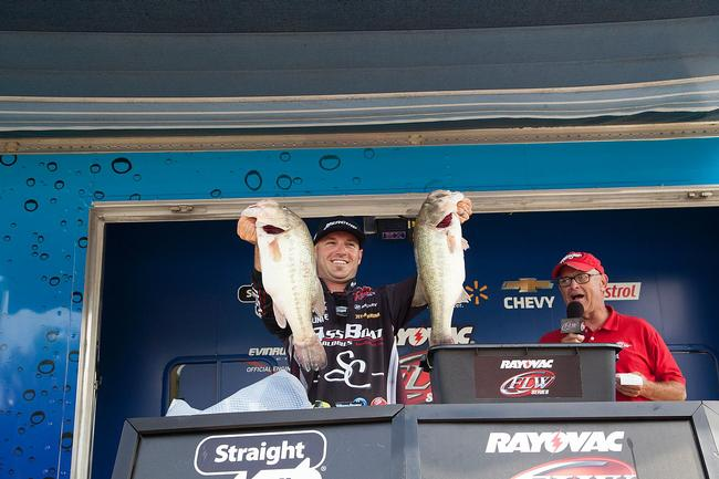The day-one leader at Kentucky Lake is Brandon Hunter. He has a couple of key spots that he says are a little bit different than the typical summer ledge.